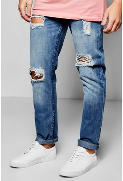 Slim Fit Rigid Destroyed Blue Jeans