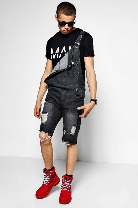 Slim Fit Destroyed Denim Dungaree Shorts