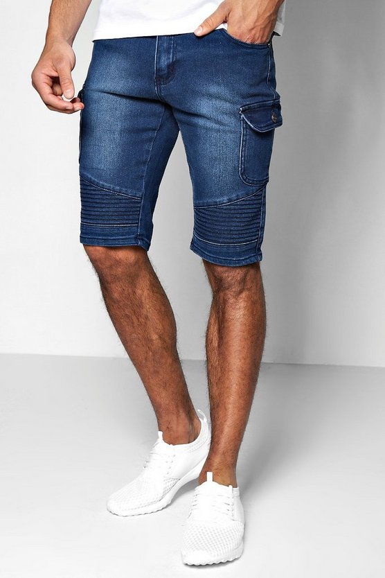 Indigo Wash Loose Fit Denim Biker Shorts With Cargo Details