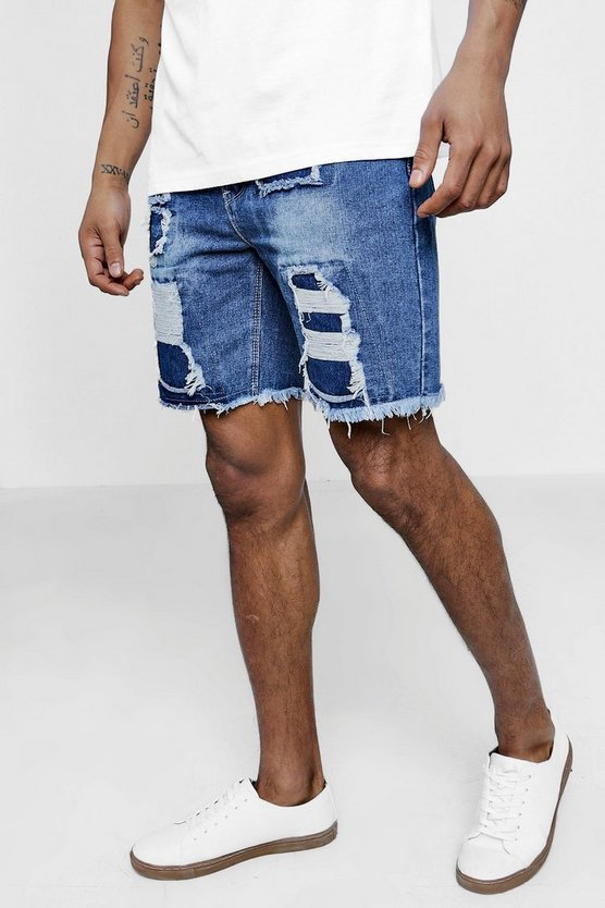 Slim Fit Distressed Denim Shorts
