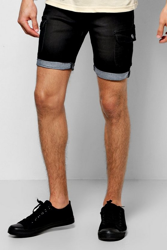 Stretch Skinny Denim Cargo Shorts