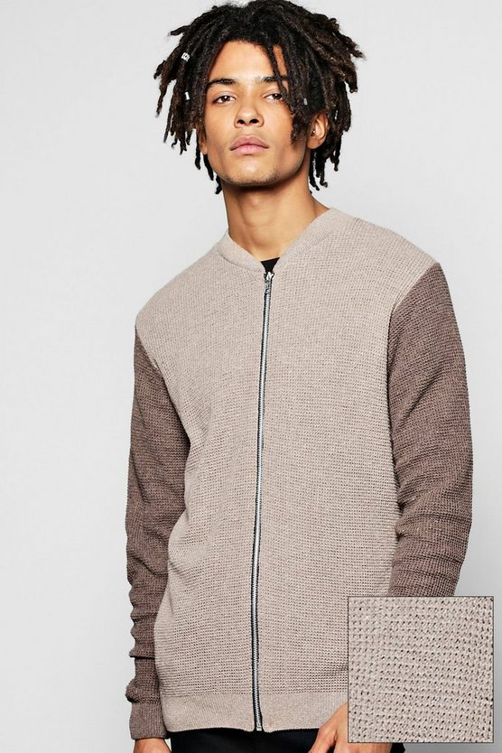 Contrast Zip Through Knitted Bomber