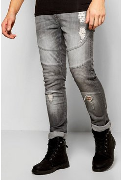 Skinny Fit Stretch Biker Jeans With Abrasions