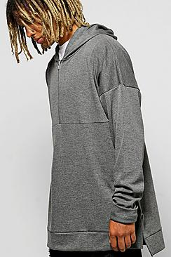 Oversized Boxy Hoodie With Zip Placket