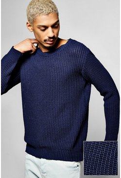 Fisherman Knit Crew Neck Jumper