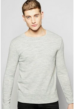 Crew Neck Jumper in Nepped Yarn