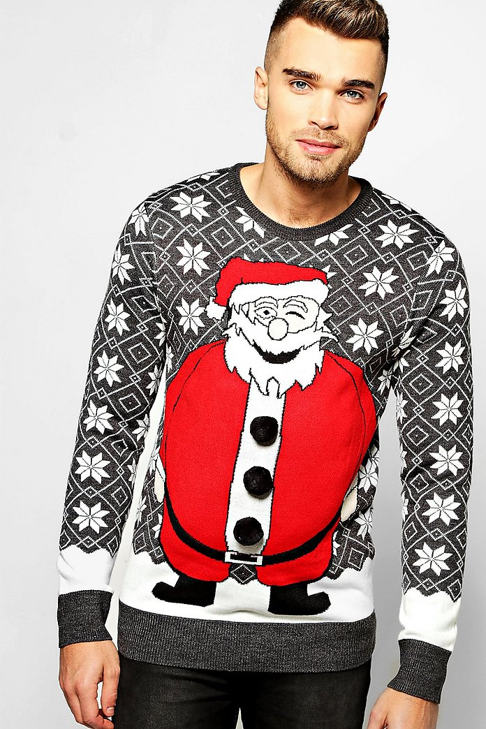 Santa Padded Effect Christmas Jumper