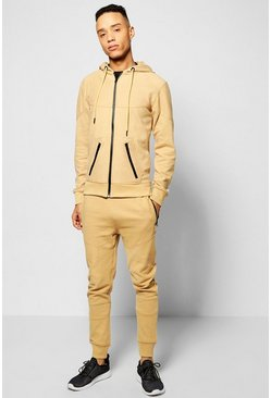 Skinny Fit Ribbed Panel Tracksuit