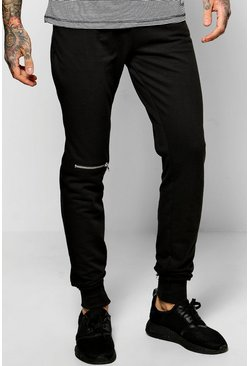 Skinny Fit Joggers With Knee Zip