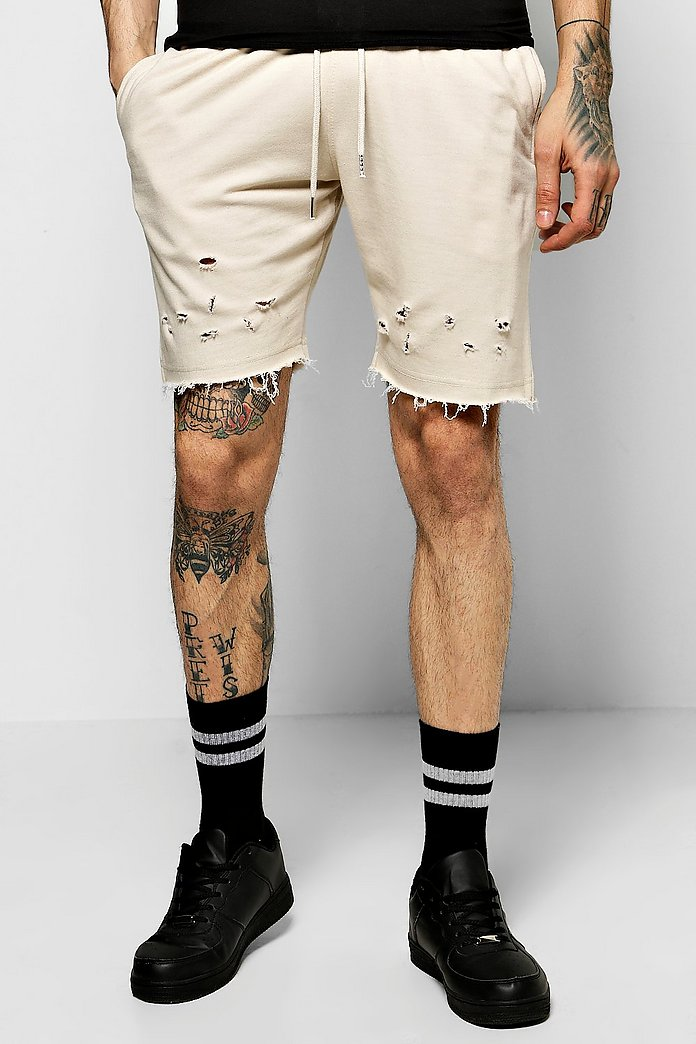 Jersey Shorts With Distressing & Raw Edges