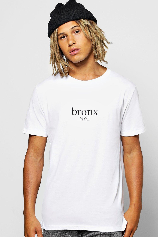 boohoo mens longline front back print t shirt