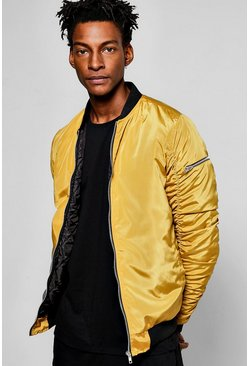Mustard MA1 Bomber Jacket With Ruched Back