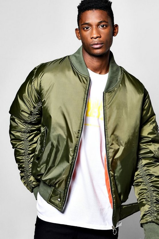 Oversized MA1 Bomber With Ruched Sleeves