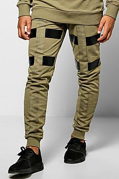 Skinny Fit Colour Block Joggers With Tape
