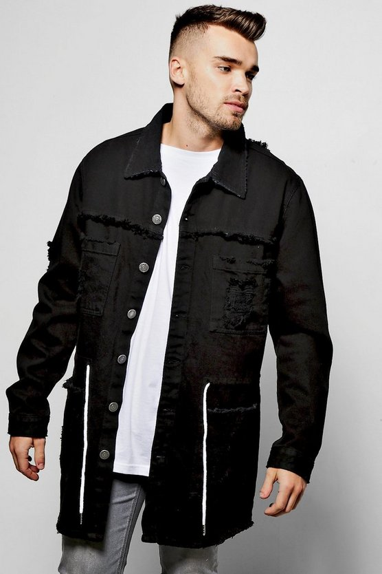 Longline Box Fit Destroyed Denim Jacket