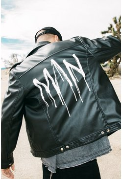 PU Biker Jacket With MAN Back Print