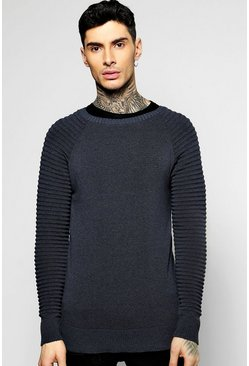 Fine Gauge Crew Neck Jumper with Biker Detail
