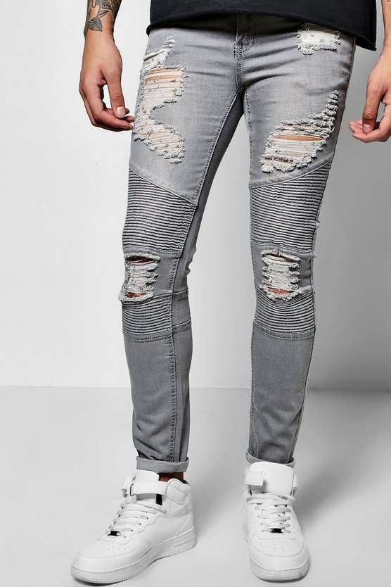 Super Skinny Biker Jean With Extreme Rips
