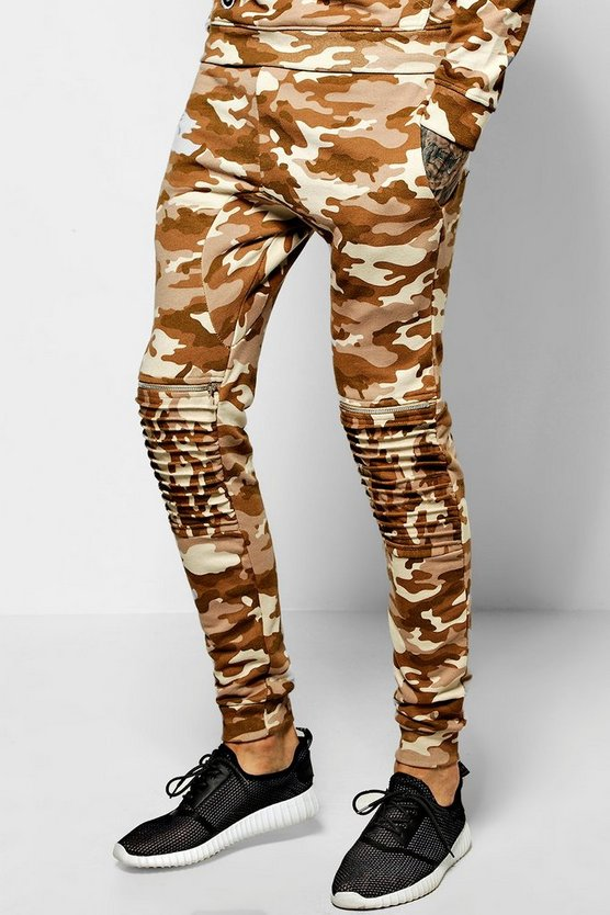 Skinny Fit Camo Joggers With Zips