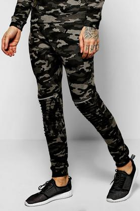 Skinny Fit Camo Biker Joggers With Zips