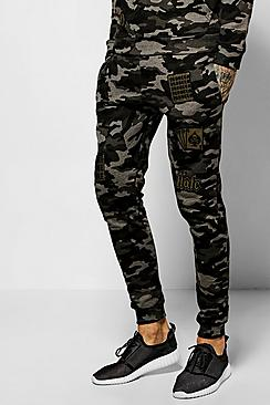 Skinny Fit Camo Joggers With Badges