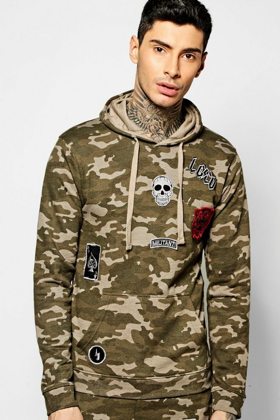 Over The Head Camo Hoodie With Badges