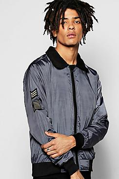 Badged Harrington Jacket with Borg Collar