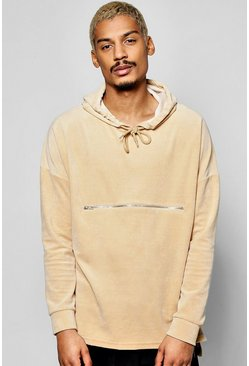 Oversized Velour Hoodie With Zip Detail