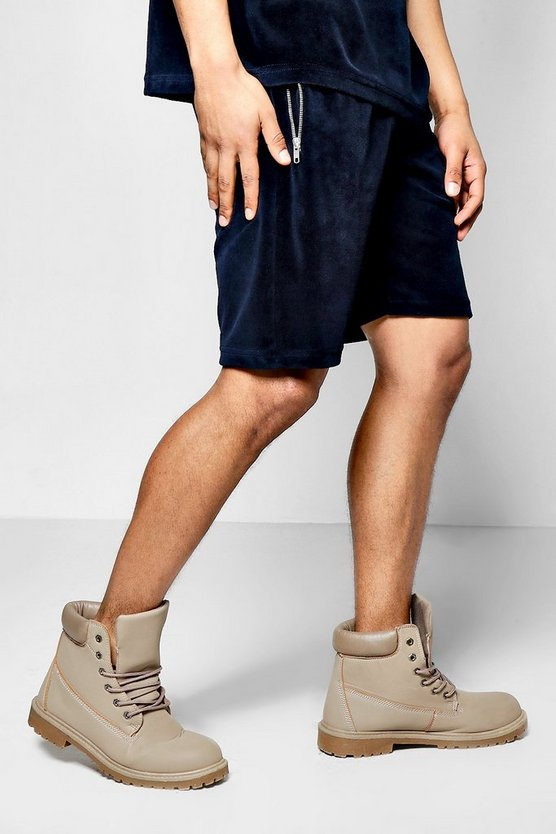 Velour Shorts With Zip Pockets