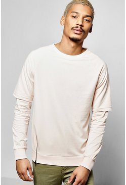 Raglan Sweatshirt With Faux Layer Sleeve