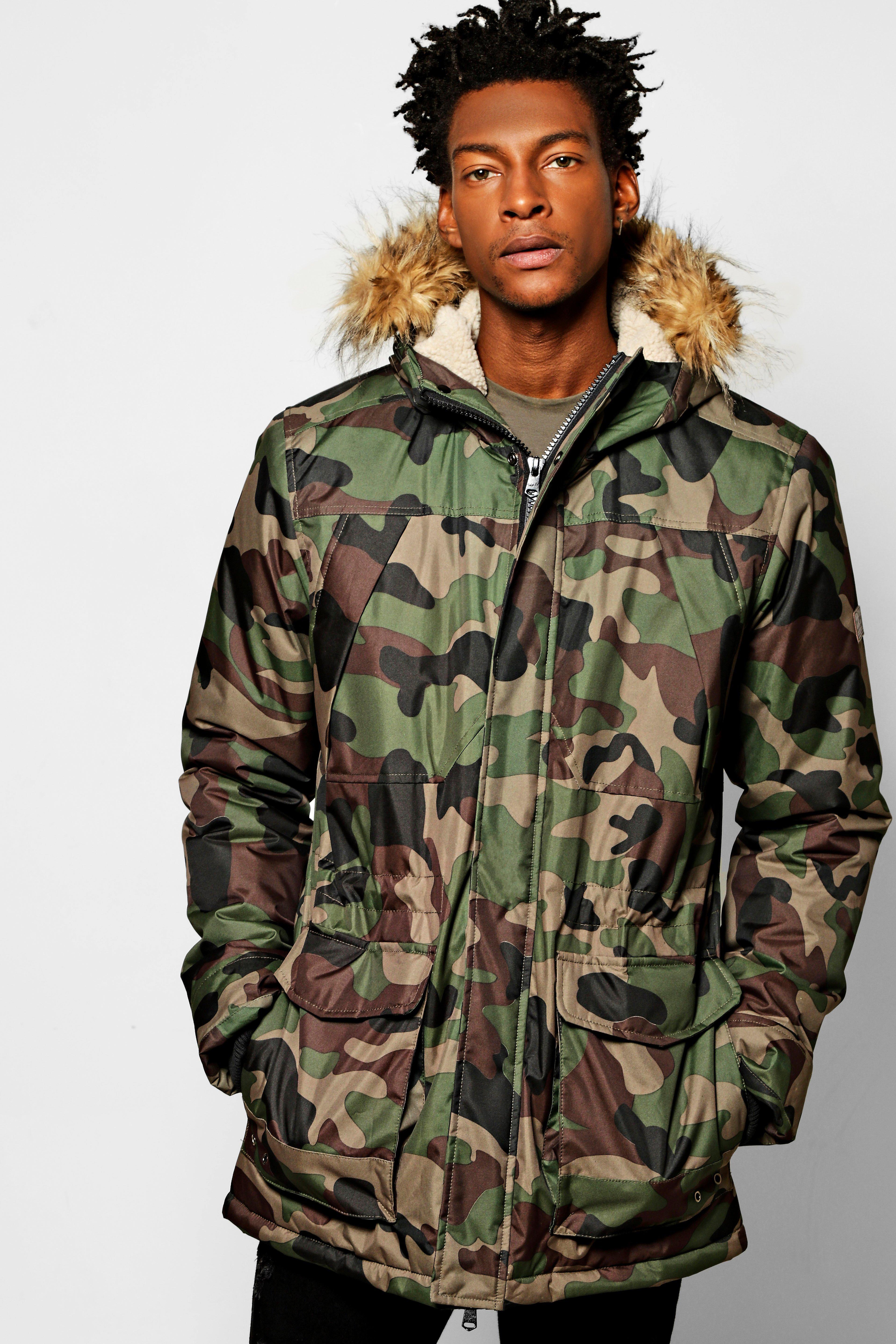 Camo Print Parka Jacket With Faux Fur Hood