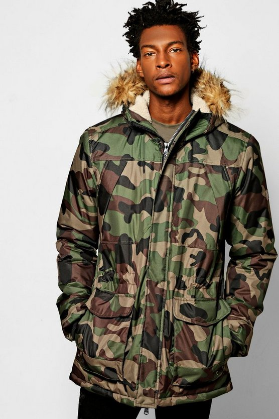 Camo Print Parka Jacket With Faux Fur Hood