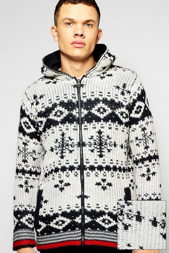 Chunky Knitted Snowflake Hooded Jacket