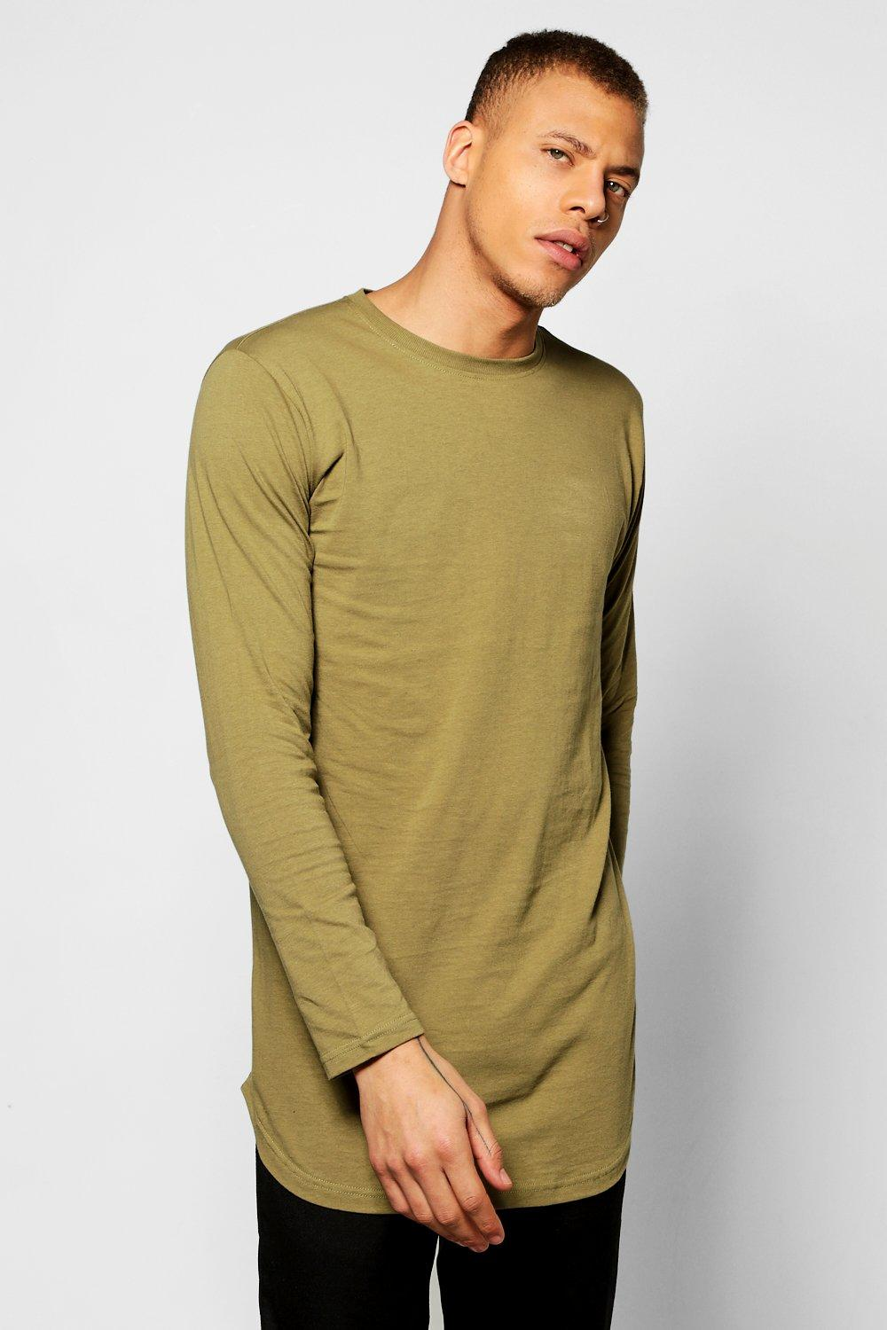 Sleeve Longline T Shirt With Scoop Hem  khaki