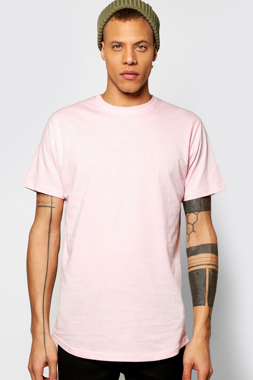 Curved Hem Longline T Shirt pink