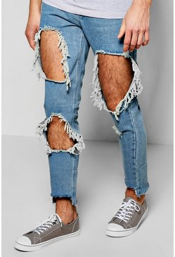 Slim Fit Rigid Jeans With Open Rips & Step Hem