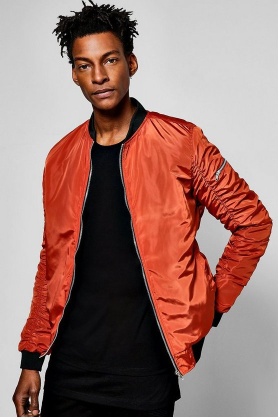 Orange MA1 Bomber Jacket With Ruched Back
