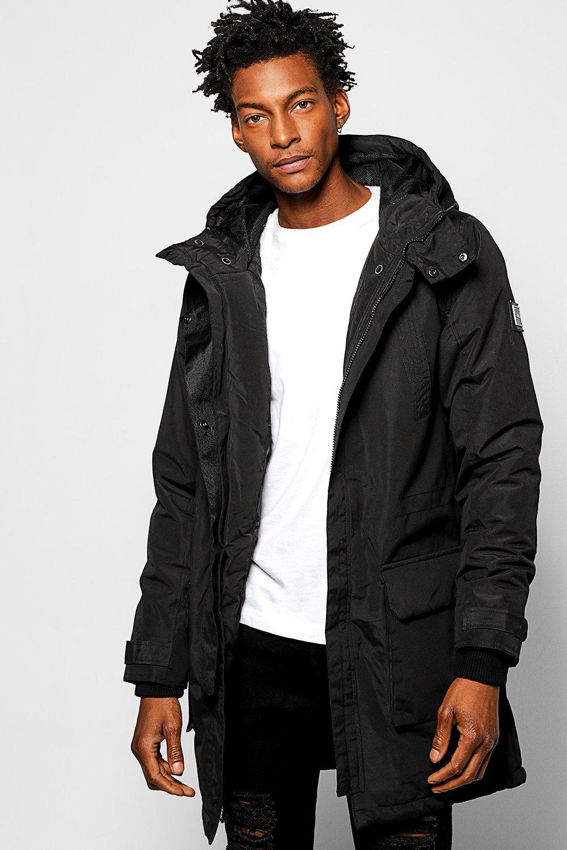 Hooded Parka Jacket With Fishtail Hem black