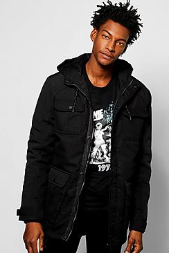 Banded Hooded Parka With Patch Pockets