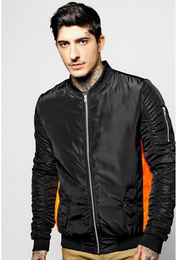 Contrast Panel Ruche Sleeve Bomber