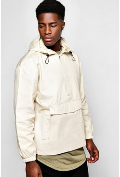 Front Pocket Over The Head Jacket With Back Print