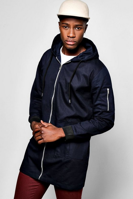 Cotton MA1 Zip Through Hooded Anorak