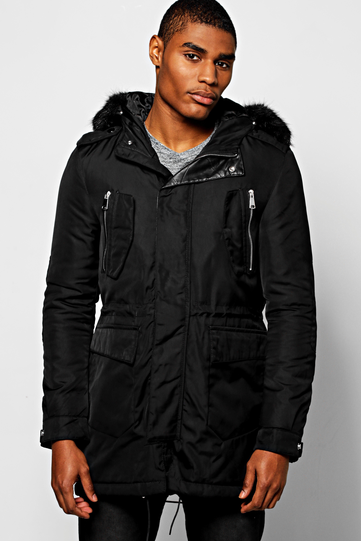 Multi Pocket Parka With Faux Fur Hood