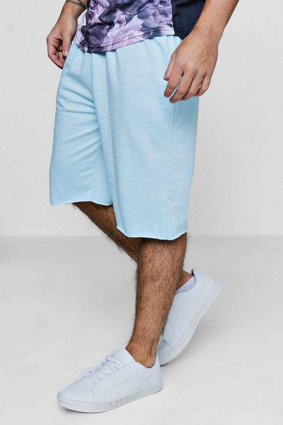 Mid Length Raw Edge Jersey Shorts