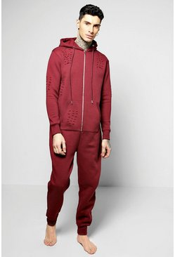 Distressed Hooded Onesie