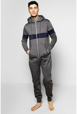 Contrast Panelled Hooded Onesie