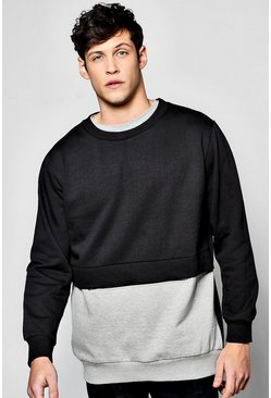 Oversized Contrast Zip Sweatshirt