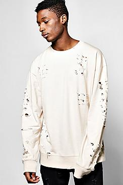 Oversized Extreme Destroyed Sweatshirt