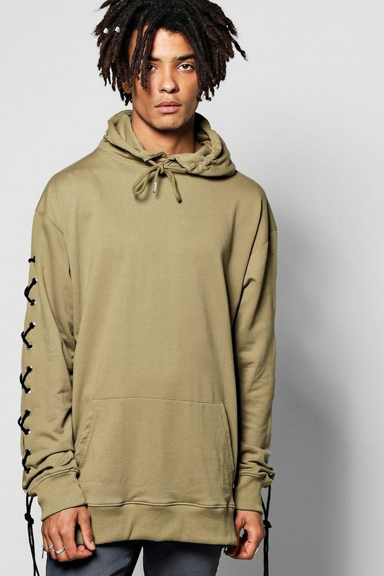 Oversized Lace Up Hoodie
