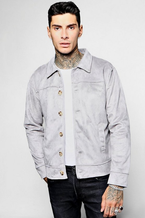 Button Through Suedette Trucker Jacket